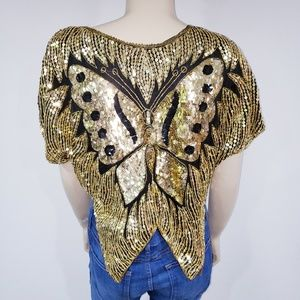 Vintage Butterfly Sequin Crop Top Gold Disco Cape